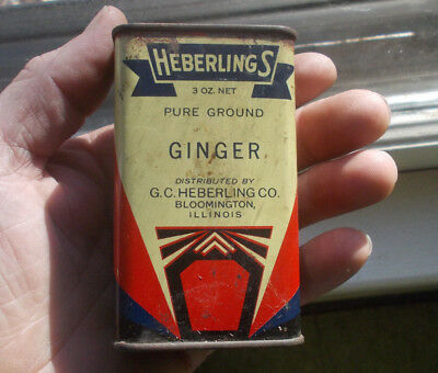 Bloomington,il Heberlings Ginger 3 Oz Tin Spice Can With Original Lid