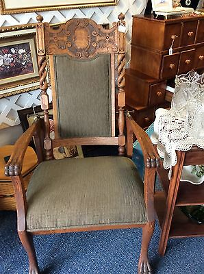 Antique Morris Reclining Chair - reupholstered w/ beautiful carving