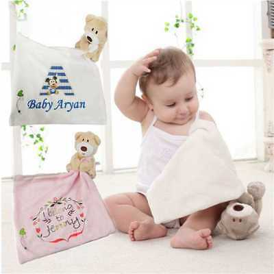 Personalised Baby Printed Soft Teddy Bear Plush Comforter Blanket New Born Towel