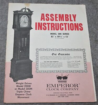 Vintage Emperor Clock Assembly Instructions/movement For Model 300 Series
