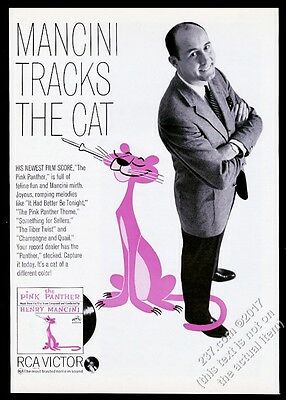 1964 Pink Panther art Henry Mancini photo movie album release vintage print ad