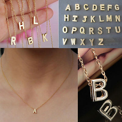Fashion Initial Alphabet Letter A-Z Womens Gold Plated Pendant Chain Necklace