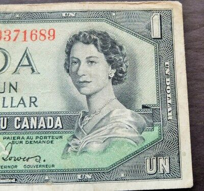 1954 Devils Face Bank Of Canada $1 Dollar Note, Circulated Condition, Lot#808