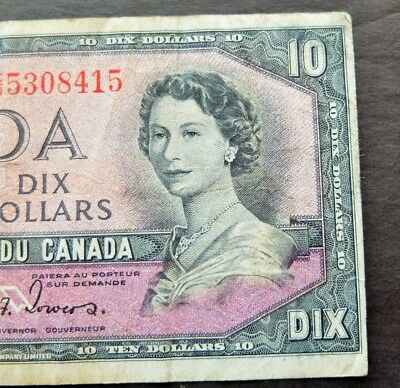 1954 Devils Face Bank Of Canada $10 Dollars Note, Circulated Condition, Lot#809