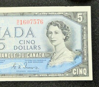 1954 Devils Face Bank Of Canada $5 Dollar Note, Circulated Condition, Lot#821