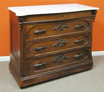 """Empire """"Solid Cherry"""" Hand Made/Carved 4 Drawer Dresser Marble Top (FREE DEL ?)"""