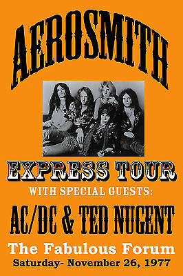 ROCK: Aerosmith with AC/DC & Ted Nugent at L.A. Forum Concert Poster Circa 1977