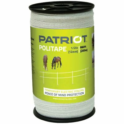 """Patriot 821451 Politape 660 Ft Roll  1/2"""" Electric Fence Wire  Horse Poly Tape"""