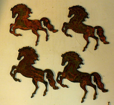 Lot of 4 Prancing Horses 4 inch Rough Rusty Vintage Metal Art Ornament Stencil