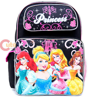 "Disney Princess Large School Backpack 16"" Girls Book Bag Black Pink Floral"
