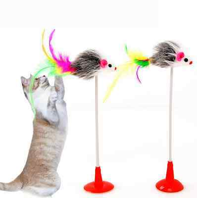 20cm Pet Plume Faux Souris Bas Sucker Cat Chaton Jouer Scratch Jouet Cat Toys