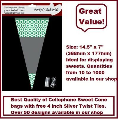 100 - GREEN Football Cone Cello Cellophane Sweet Party Bags With Silver Ties