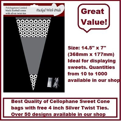 25 - BLACK Football Cone Cello Cellophane Sweet Party Bags With Silver Ties