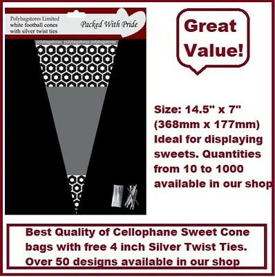 100 - WHITE Football Cone Cello Cellophane Sweet Party Bags With Silver Ties