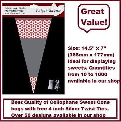 50 - RED Football Cone Cello Cellophane Sweet Party Bags With Silver Ties