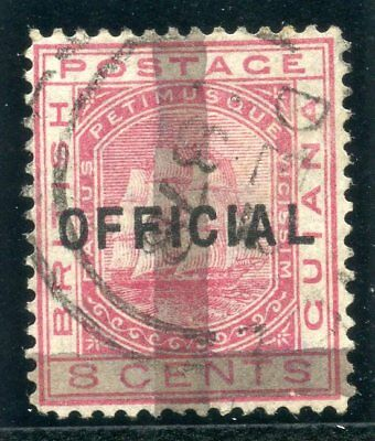 British Guiana 1878 QV (2c) on 8c rose (one horiz & one vert bar) VFU. SG 148.