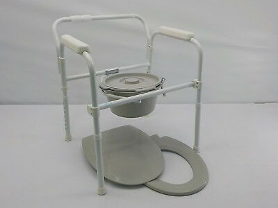 Vive Bedside Commode Folding 3 in 1 Medical Toilet Chair with Wide Seat
