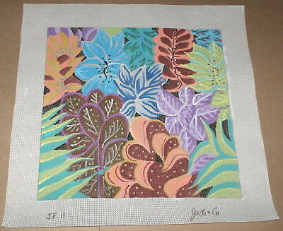 "Judi & Co. ""Jungle Floral"" Colorful Flowers Handpainted Needlepoint Canvas"