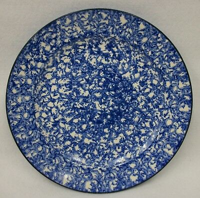 """Vintage Stangl Town & Country Blue Sponge Ware 10.5"""" Dinner Plate"""
