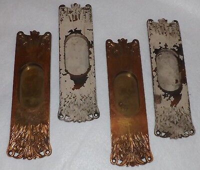 2 Sets Antique Ornate Brass Pocket Door Pulls Handles Hardware
