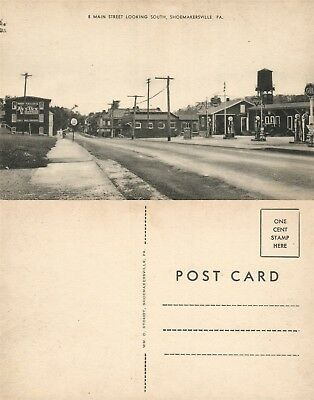 Shoemakersville Pa Main Street Conoco Gas Station Vintage Postcard