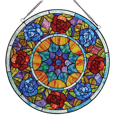 LAST ONE THIS PRICE  Tiffany Style Roses Stained Glass Handcrafted Window Panel