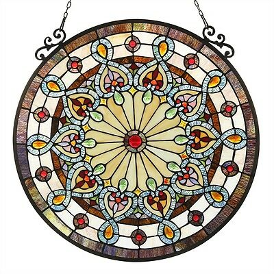"Stunning Colorful 23.5"" Diameter Round Window Panel Victorian Stained Glass"