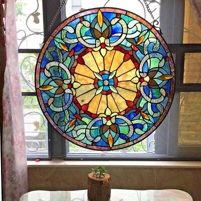 "22"" Round Victorian Frances Tiffany Style Handcrafted Stained Glass Window Panel"