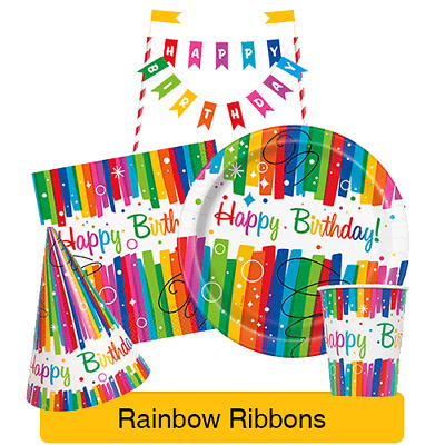 RAINBOW RIBBONS Birthday (Tableware, Balloons and Decorations) (1C)