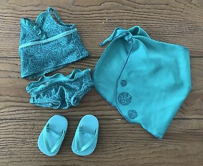 American Girl Doll Swimsuit, Flip Flops, Cover-up 100% Authentic! EUC!
