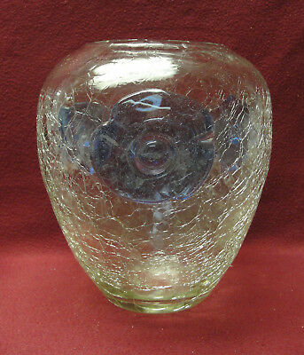 VINTAGE BLENKO ART GLASS VASE - CLEAR CRACKLE with BLUE MEDALLIONS