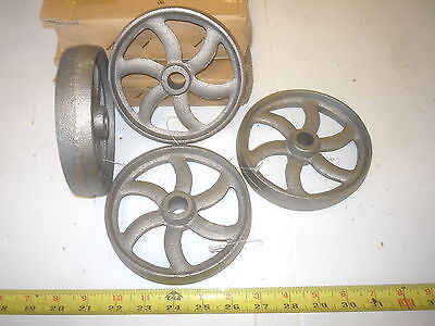 2  Cast Iron Wheel   Sm Hit & Miss Gas Engine Maytag Cart Curved Spoke  Wheel