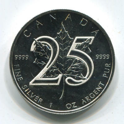 2013 Canada $5 Silver Maple Leaf, 25th Anniversary .9999