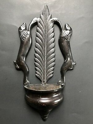 Unusual Antique Bronze Sconce Wall Pocket With Lions
