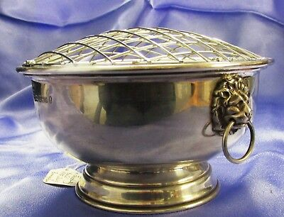 Beautiful Sterling Silver Two Lion Handled Bowl Large one 1977 240 grams