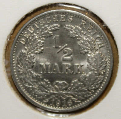 Germany 1/2 Mark 1916-G Brilliant Uncirculated Silver Coin - Imperial Eagle