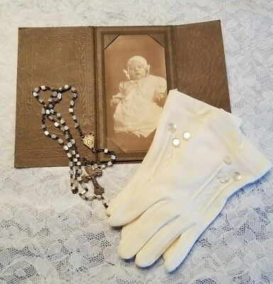 Antique Late 1800s Child Tiny Rosary Mother of Pearl TCL Gloves Baby Photo