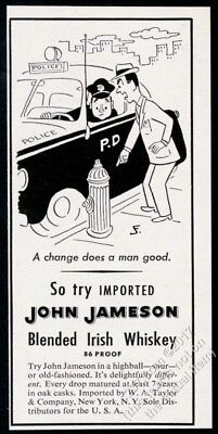 1953 John Jameson Irish Whiskey police cop car cartoon vintage print ad