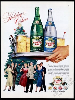 1954 Canada Dry Ginger Ale Club Soda Christmas party art vintage print ad