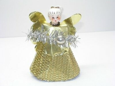 Pretty Vintage Christmas Tree Top Angel With Porcelain Head And Gold Tone Dress