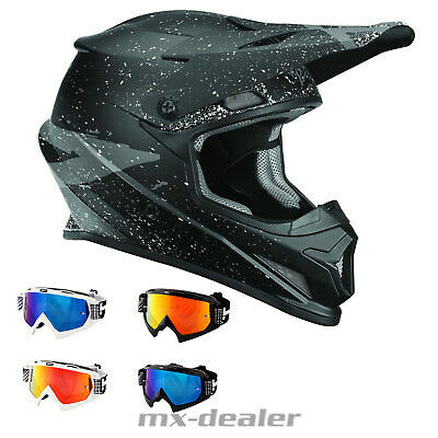 Thor MX Sector Hype Schwarz Helm Crosshelm MX Motocross Cross HP7 Brille Quad