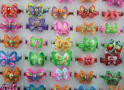 100pcs Butterfly Design Wholesale Mixed Lots Polymer Clay Children's Rings AH600