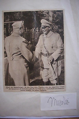 SIGNED BENITO MUSSOLINI with WWII German Newspaper Clipping of Luflwaffe IL DUCE