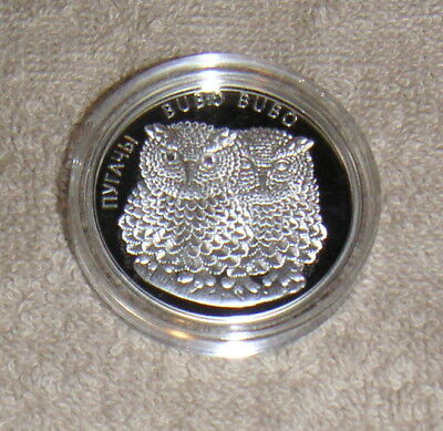 2010 Belarus 20 Roubles Rubles .999 Silver Coin Eagle Owls w/ Crystal Eyes Lot