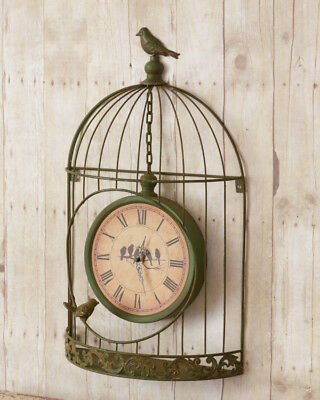 New Primitive Rustic Shabby Vintage Style GREEN BIRD CAGE CLOCK Wall Hanging