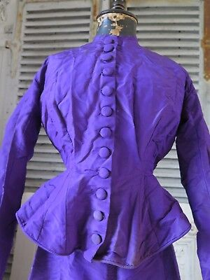 Antique 19. Jhd. Victorian PURPLE dress BODICE Silk GOWN french