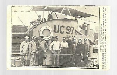 Wwi German Submarine Uc-97 1919 Card Showing U Boat At Chicago