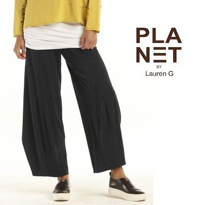 d8cdec9d79bd77 PLANET by Lauren G 473T Stretch SPA Jersey PLEATED PANT Balloon SS 2018  BLACK