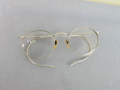 Antique Vintage Shuron old Round Silver Wire Rim Frames Eyeglasses w/ Case