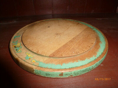 Vintage Wood Bread Board with Old Green Paint Antique Primitive Cutting Board